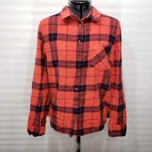 Merona Red Orange Flannel Size XL